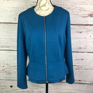 Mossimo Teal zip Blazer Peplum Blazer Coat sz XL